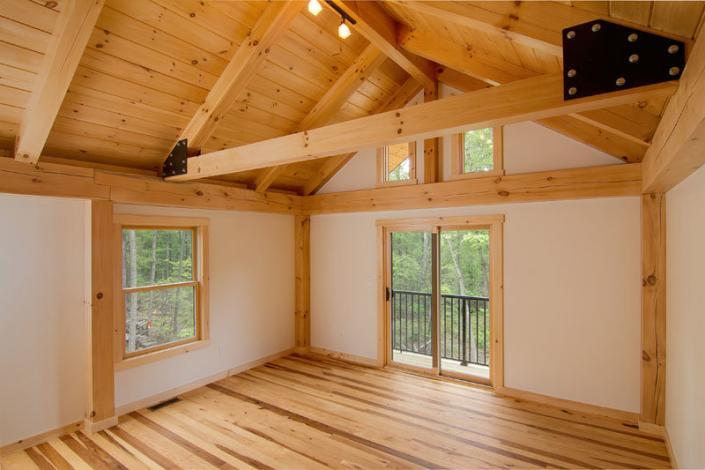 Exposed timbers in post and beam home