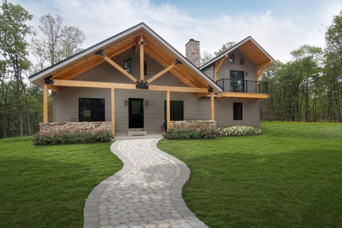 Large timber truss on post and beam home