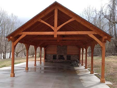 Timber Frame Pavilion Gable End, Charles Park Pavilion, timber frame pavilion, outdoor structures, wooden pavilion, outdoor pavilion, Timberhaven