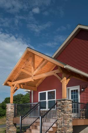 Exterior Timber Accents Porch, timber accents, timber frame, timber frame accents, hybrid homes, Timberhaven, engineered timbers, kiln dried