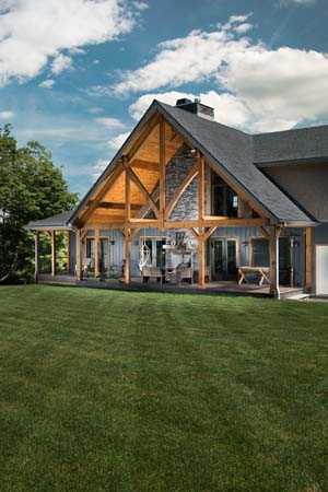 Hybrid Home Exterior Timber Frame Porch, hybrid homes, timber accents, timber frame accents, custom design, engineered timbers, Timberhaven
