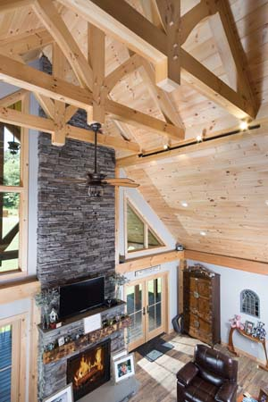 Hybrid Home Decorative Trusses, timber accents, decorative trusses, timber frame, timber frame accents, hybrid homes, Timberhaven, engineered timbers, kiln dried, custom design, white pine, great room, cathedral ceiling
