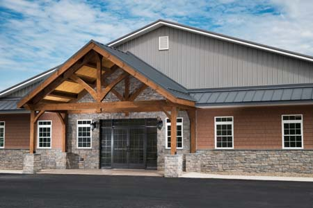 timber truss at entrance of building, D&J Kennels, timber truss, timber accents, commercial projects, Timberhaven, engineered timbers, kiln dried timbers