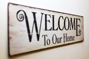 Welcome to our home sign, new model log home, log home model, open house, grand opening, Timberhaven, Tennessee