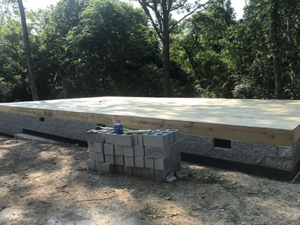 crawlspace foundation with subfloor, new model log home, foundation, crawlspace, foundation for new log home, log home foundation