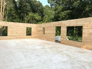 log walls for home, under construction, model home, log home, Timberhaven