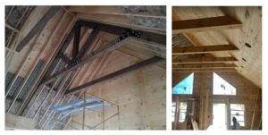 wood trusses and ceiling, log homes, log cabin home, new model home, local TN rep, under construction, weathertight log home