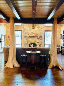 character trees in entry way, character trees, log home, log cabin, log cabin home, Timberhaven, made to list a lifetime