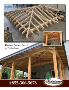 pictures of timber frame porch, timber frame porch addition, Timberhaven, materials package, custom design