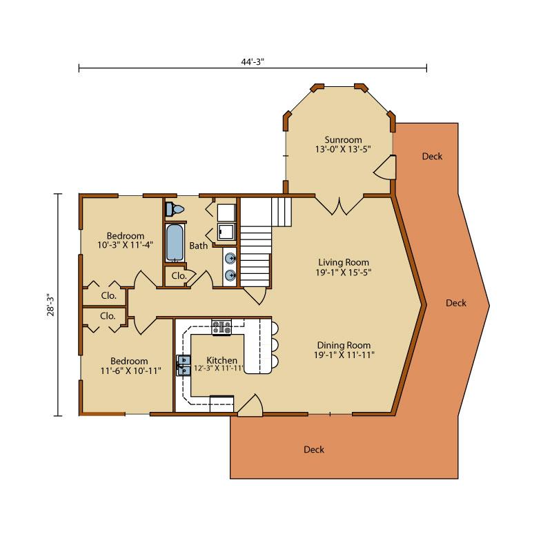 Aspen-Hill-II,Timberhaven Log Home,3 Bedrooms,2 Bathrooms