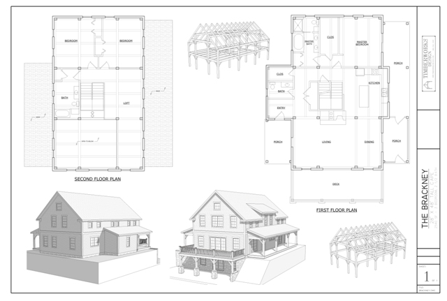 Brackney timber frame and plan collage