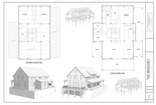 Brackney timber frame and plan collage