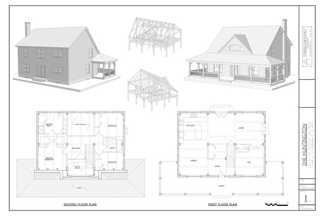 Huntington timber frame and plan collage