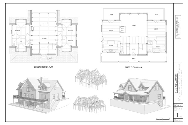 Newport timber frame and plan collage