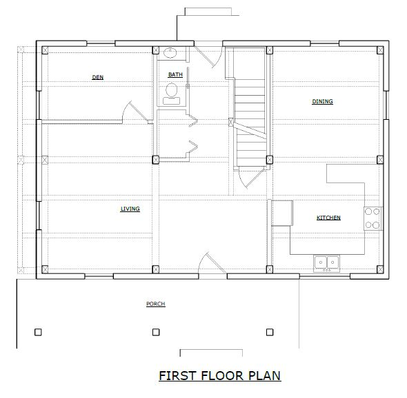 Shelburne timber frame first floorplan
