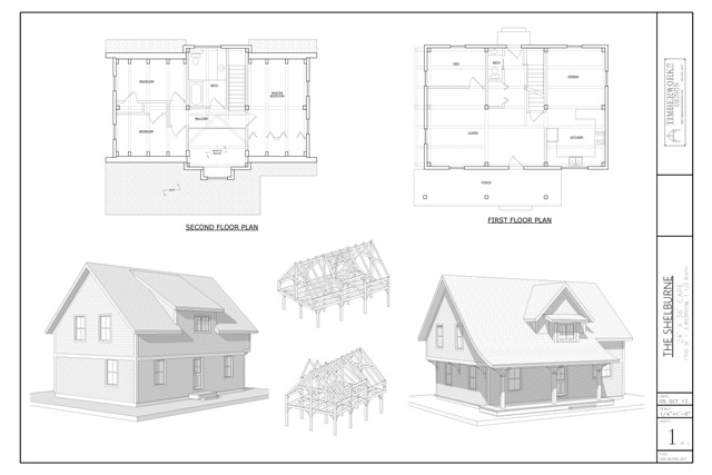 Shelburne timber frame and plan collage