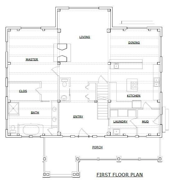 Sugar Hill timber frame first floorplan