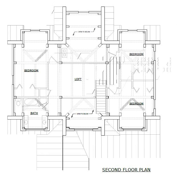 Sugar Hill timber frame second floorplan