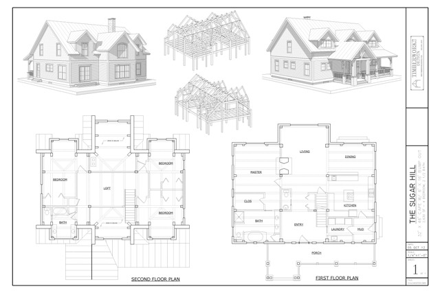 Sugar Hill timber frame and plan collage