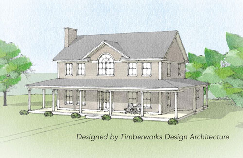 Waitsfield timber frame front elevation