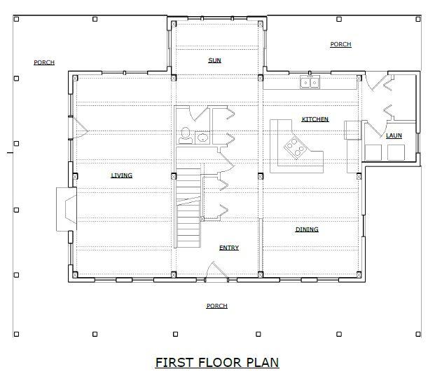 Waitsfield timber frame first floor plan