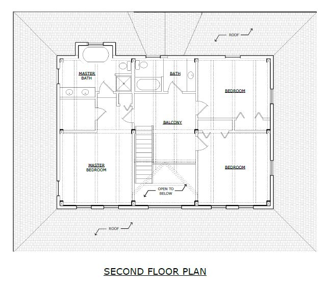 Waitsfield timber frame second floor plan