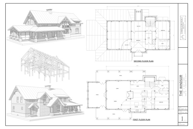 Windsor timber frame and plan collage