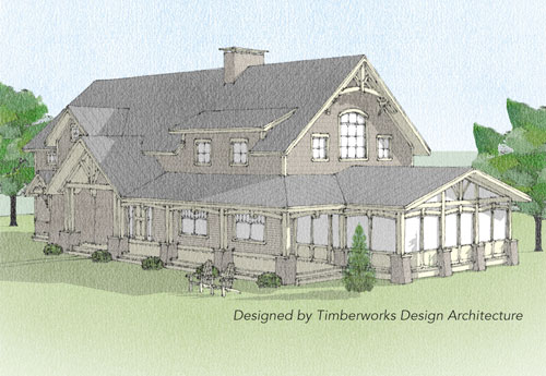 Windsor timber frame front elevation