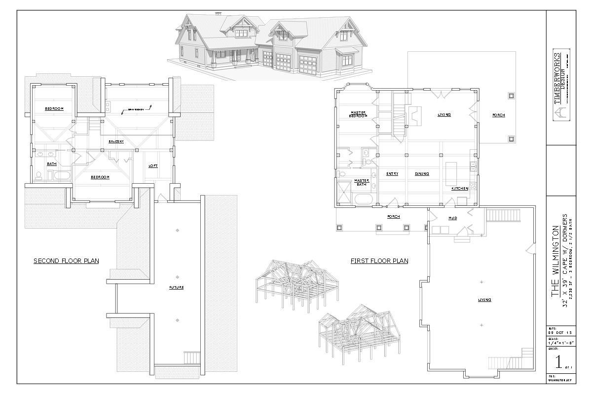 Wilmington timber frame and plan collage