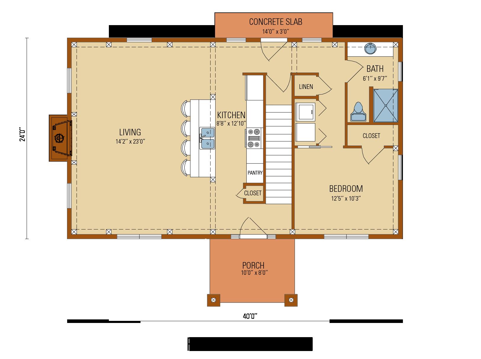 Craftsman Timber Frame  Floor Plan, first level
