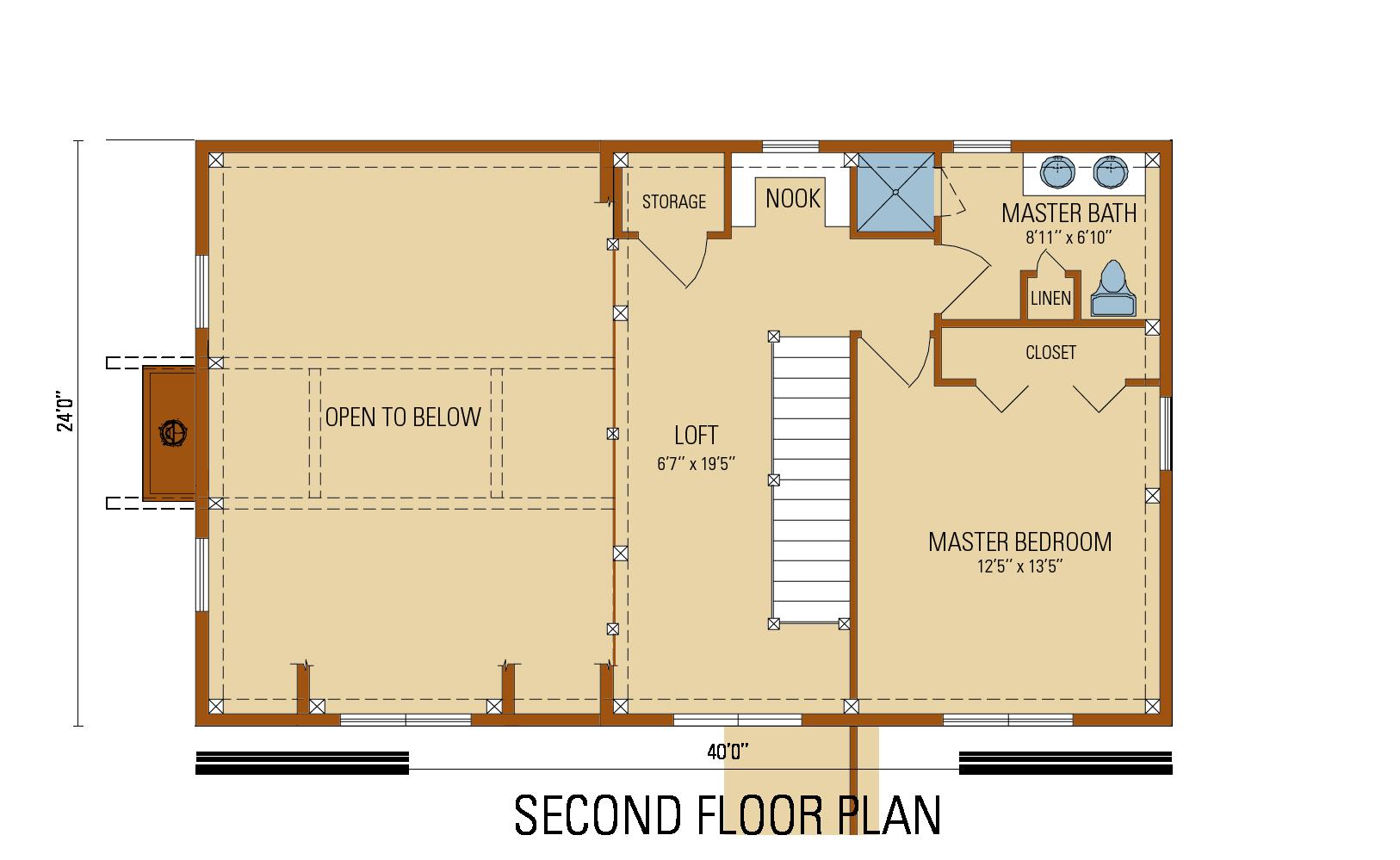 Craftsman Timber Frame  Floor Plan, second level