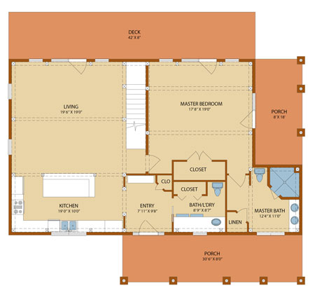 Cottage Timber Frame First Level Floor Plan