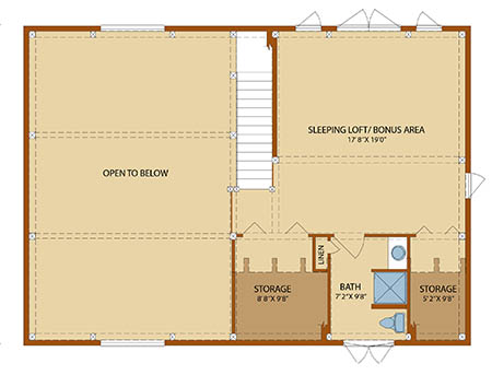 Cottage Timber Frame Second Level Floor Plan